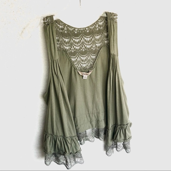 3/$24 Decree Hunter Green Lace & Crochet Vest
